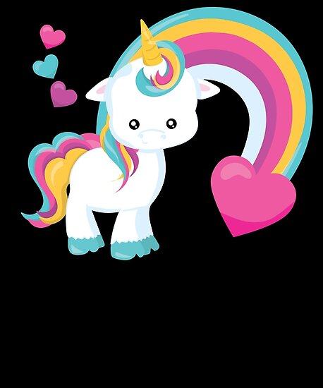 Cute Baby Unicorn Rainbow Hearts Unicorns By LarkDesigns