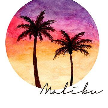 Malibu Sunset - Watercolour Painting by patti2905