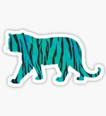 Tiger Black and Teal Print Sticker