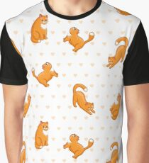 funny ginger cat in various poses, background with hearts Graphic T-Shirt
