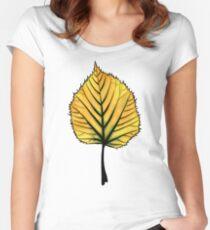 Yellow Linden Leaf On Orange | Decorative Botanical Art Women's Fitted Scoop T-Shirt