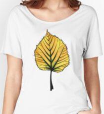 Yellow Linden Leaf On Orange   Decorative Botanical Art Women's Relaxed Fit T-Shirt