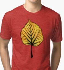 Yellow Linden Leaf On Orange   Decorative Botanical Art Tri-blend T-Shirt