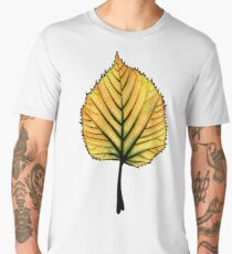Yellow Linden Leaf On Orange | Decorative Botanical Art Men's Premium T-Shirt