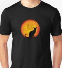 Cat sunset Chinese characters Unisex T-Shirt