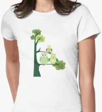 Green Owls Womens Fitted T-Shirt