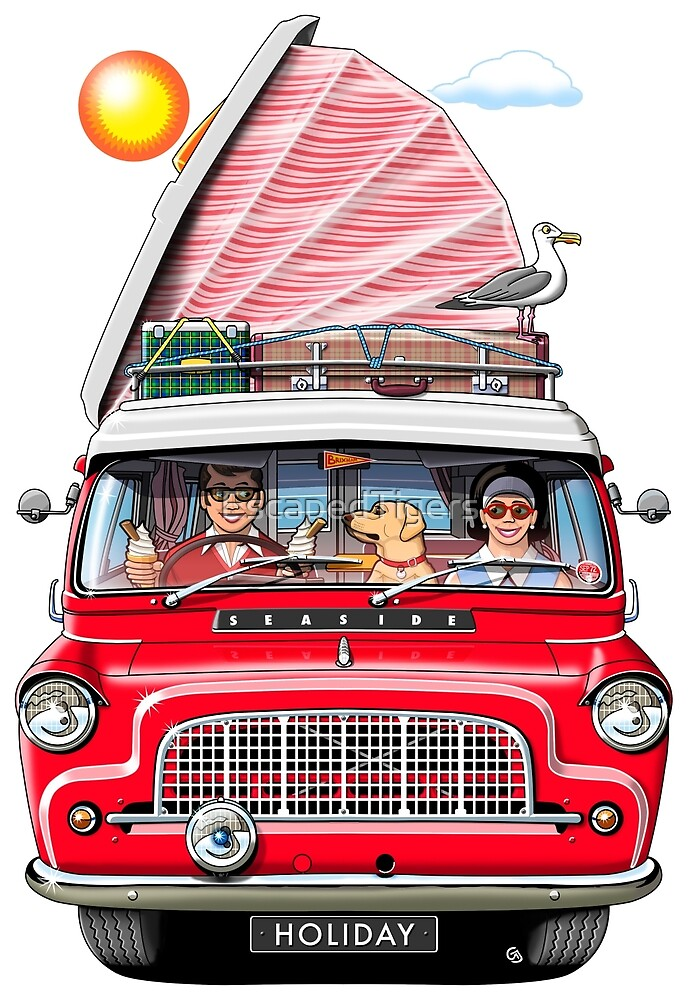 1960s Bedford Camper in Red with Roof Raised by EscapedTigers