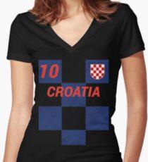 Croatia World Soccer Jersey T-Shirt, Croatian Football Shirt Women's Fitted V-Neck T-Shirt