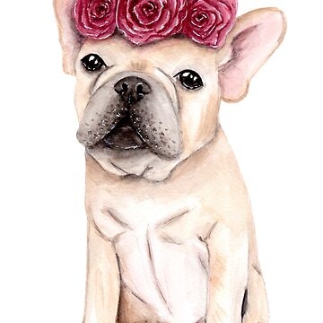Frenchie with Flowercrown - Watercolour Painting by patti2905