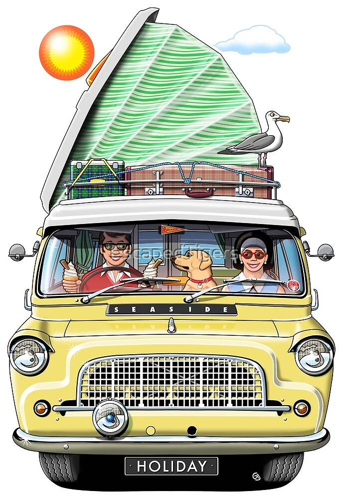 1960s Bedford Camper in Yellow with Roof Raised by EscapedTigers