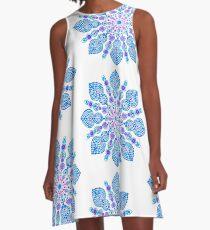 Light Blue Snow Flake Mandala - Art&Deco By Natasha A-Line Dress