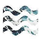peaceful sea wave splashing with simple wave icon by thejoyker1986