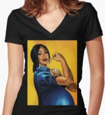 Cardi B! Moneybags and Motherhood Women's Fitted V-Neck T-Shirt