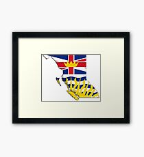 British Columbia Flag Map  Framed Print