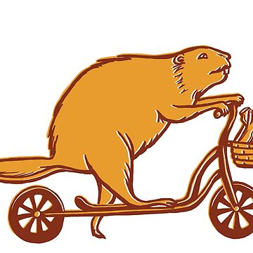 Beaver on scooter by amelielegault