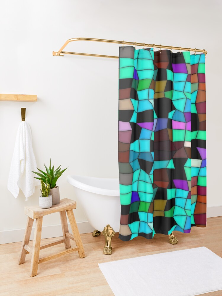 Alternate view of Mosaic pattern Shower Curtain