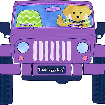 Preppy Yellow Lab Puppy Jeep Wave - Purple Jeep by emrdesigns
