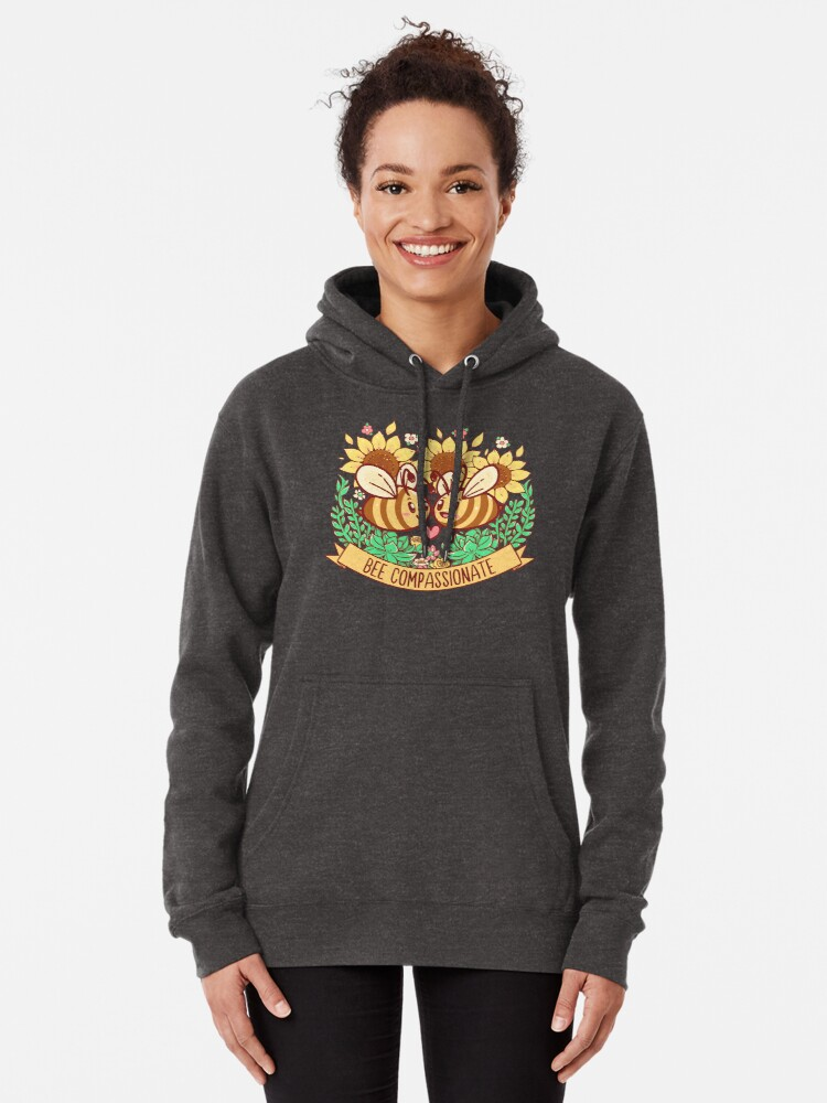 Alternate view of Bee Compassionate - Save the Bees Pullover Hoodie