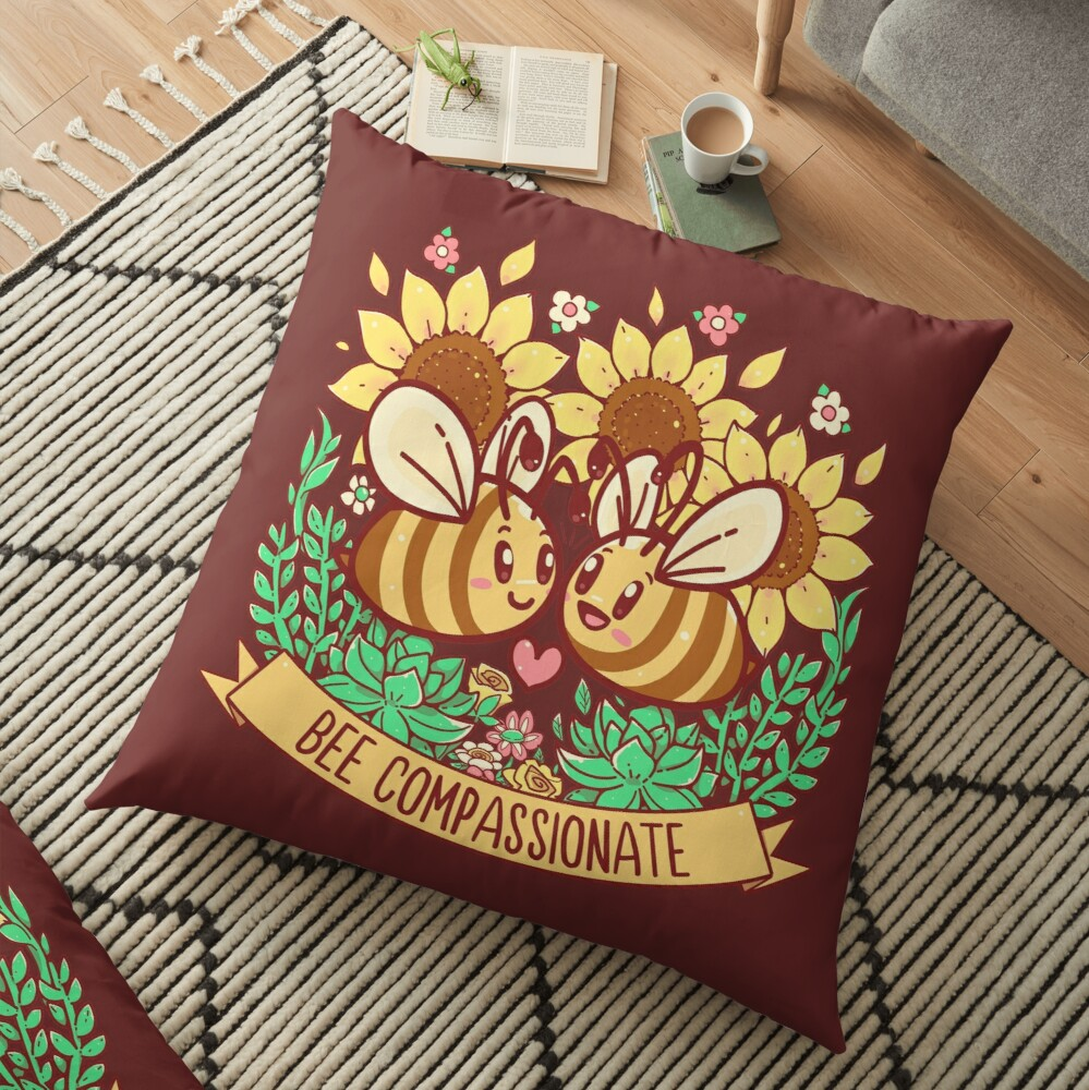 Bee Compassionate - Save the Bees Floor Pillow