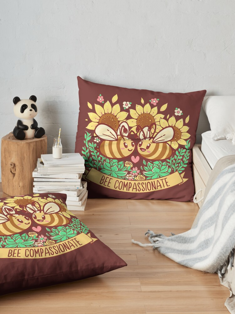 Alternate view of Bee Compassionate - Save the Bees Floor Pillow