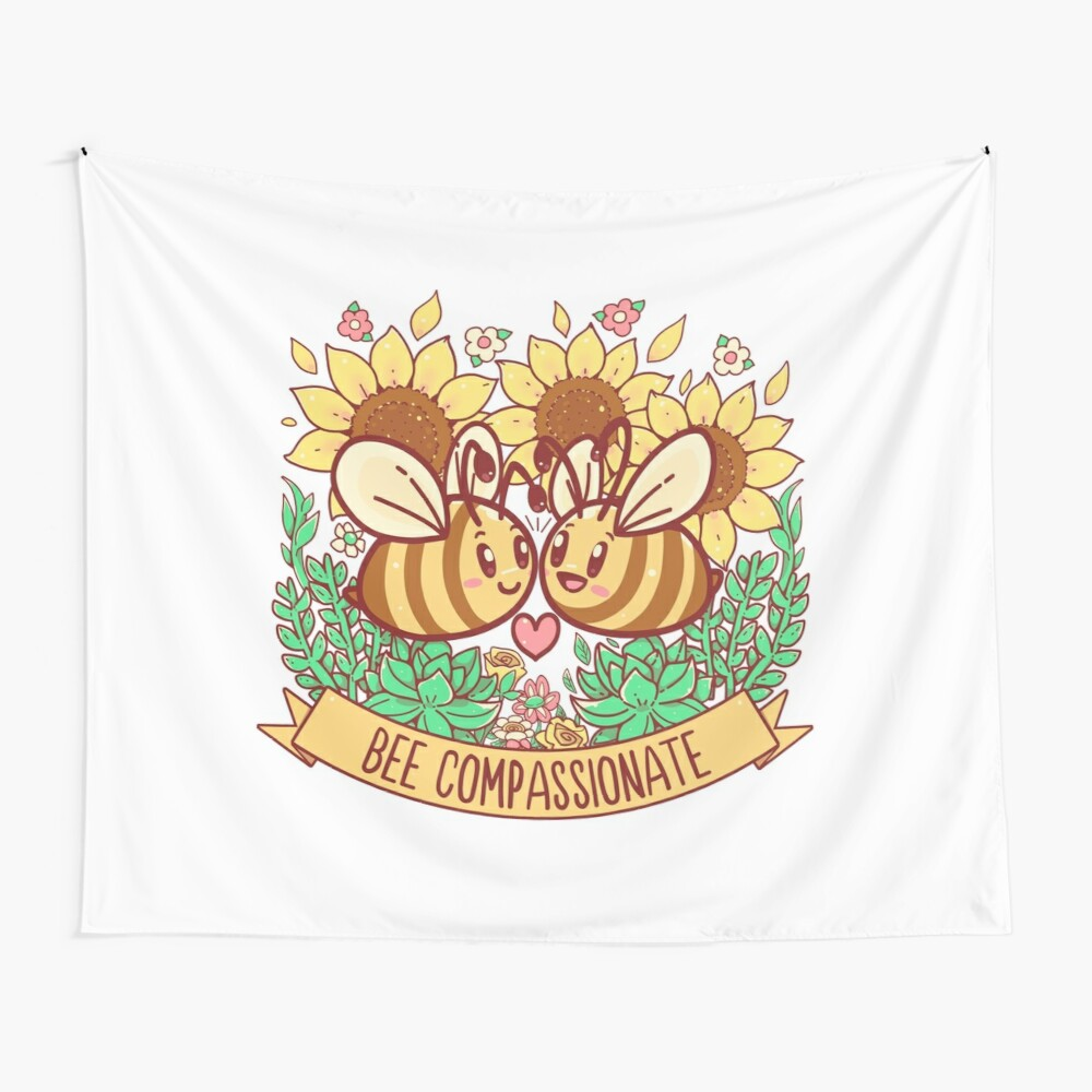 Bee Compassionate - Save the Bees Wall Tapestry
