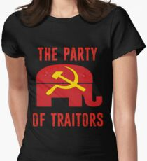 Republicans Party of Traitors Red Elephant Hammer and Sickle Russia  Women's Fitted T-Shirt