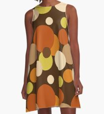 Big 70s polka dots brown A-Line Dress