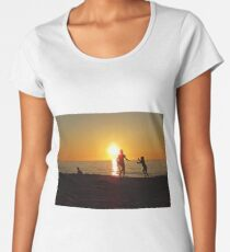 Children Playing at Sand Beach Seaside during Sunset Women's Premium T-Shirt