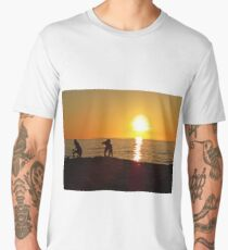 Children Playing at Sand Beach Seaside during Sunset Men's Premium T-Shirt