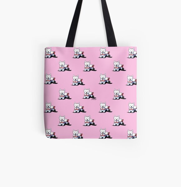KiniArt Westie On Wheels All Over Print Tote Bag