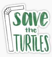 Pegatina Guarde las tortugas paja