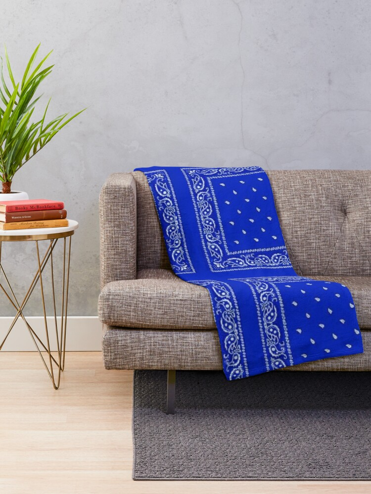 Alternate view of Blue Bandana Throw Blanket