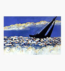 Catching the Wind, Sailboat in the Ocean at Sunset Photographic Print