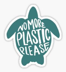 No More Plastic Please - Turtle Sticker