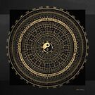 Gold Feng Shui Compass - Geomantic Compass Luopan over Black Canvas by Serge Averbukh