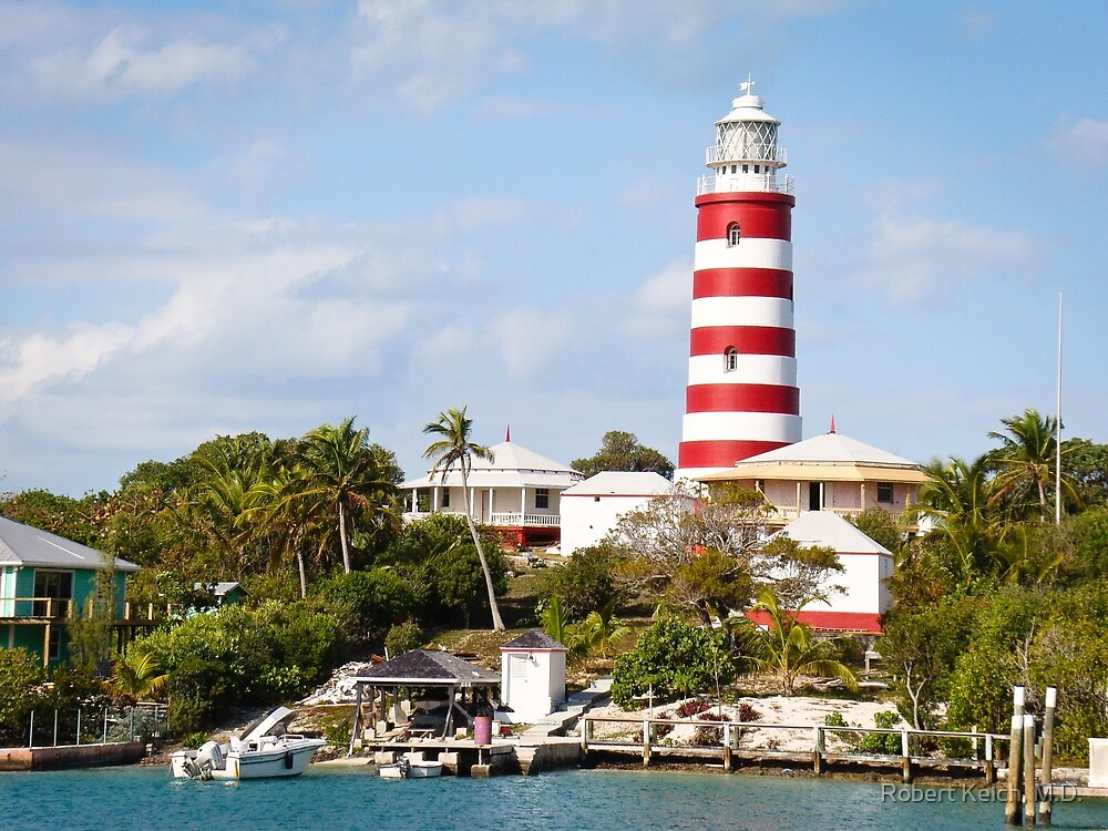 Harbor View of Hopetown Lighthouse, Elbow Cay, Bahamas by Robert Kelch, M.D.