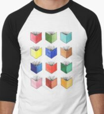 Watercolor Books. Multicolor Rainbow Illustration. Hand Painted.  Men's Baseball ¾ T-Shirt