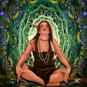 Vision Quest Spirit Alchemy - Visionary Art Entheogen Illustration by LeahMcNeir