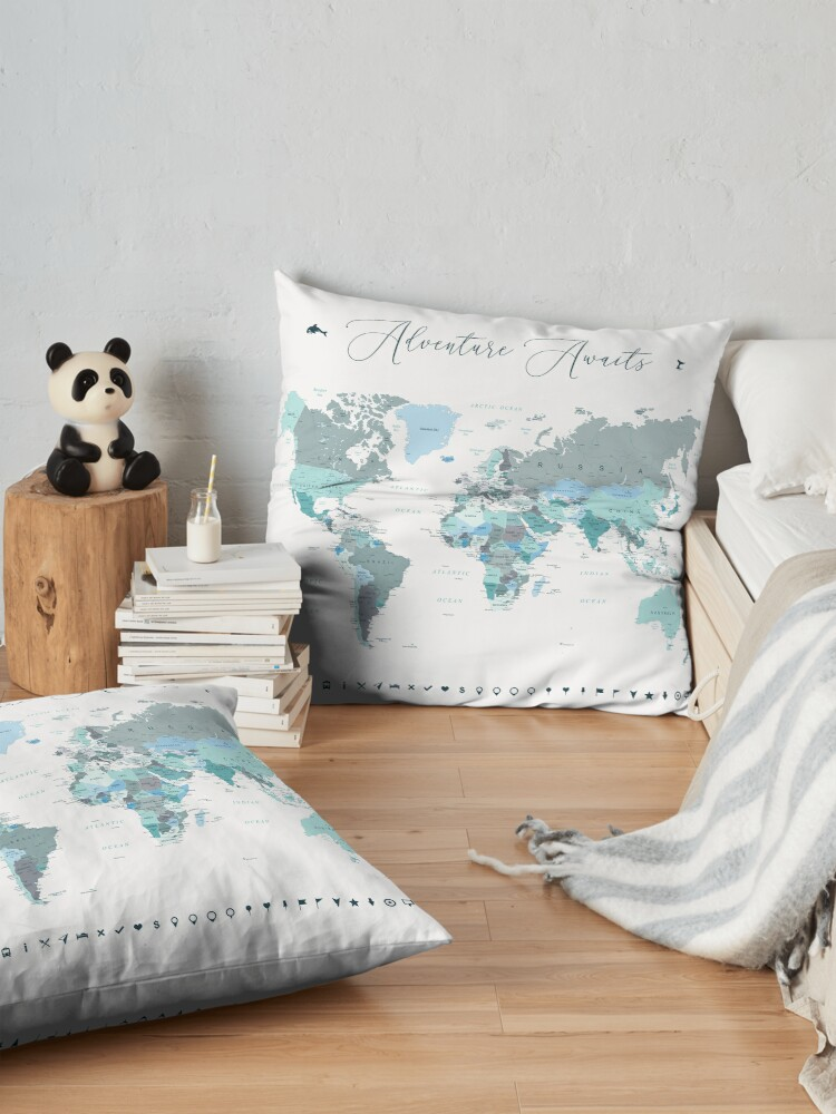 Alternate view of Adventure Awaits World Map in Teal Floor Pillow