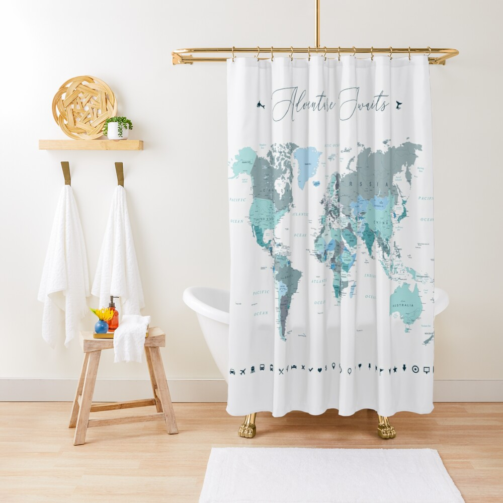 Adventure Awaits World Map in Teal Shower Curtain