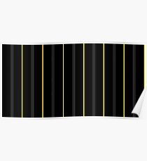 Onyx & Yellow Pin Stripes Poster