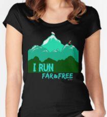 I Run Far & Free - Long Hair Runner Women's Fitted Scoop T-Shirt