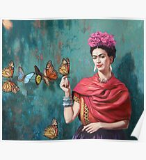 Butterfly and Frida Kahlo Poster