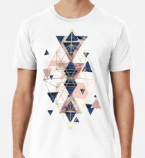 Blush Pink and Navy Geometric Perfection Men's Premium T-Shirt