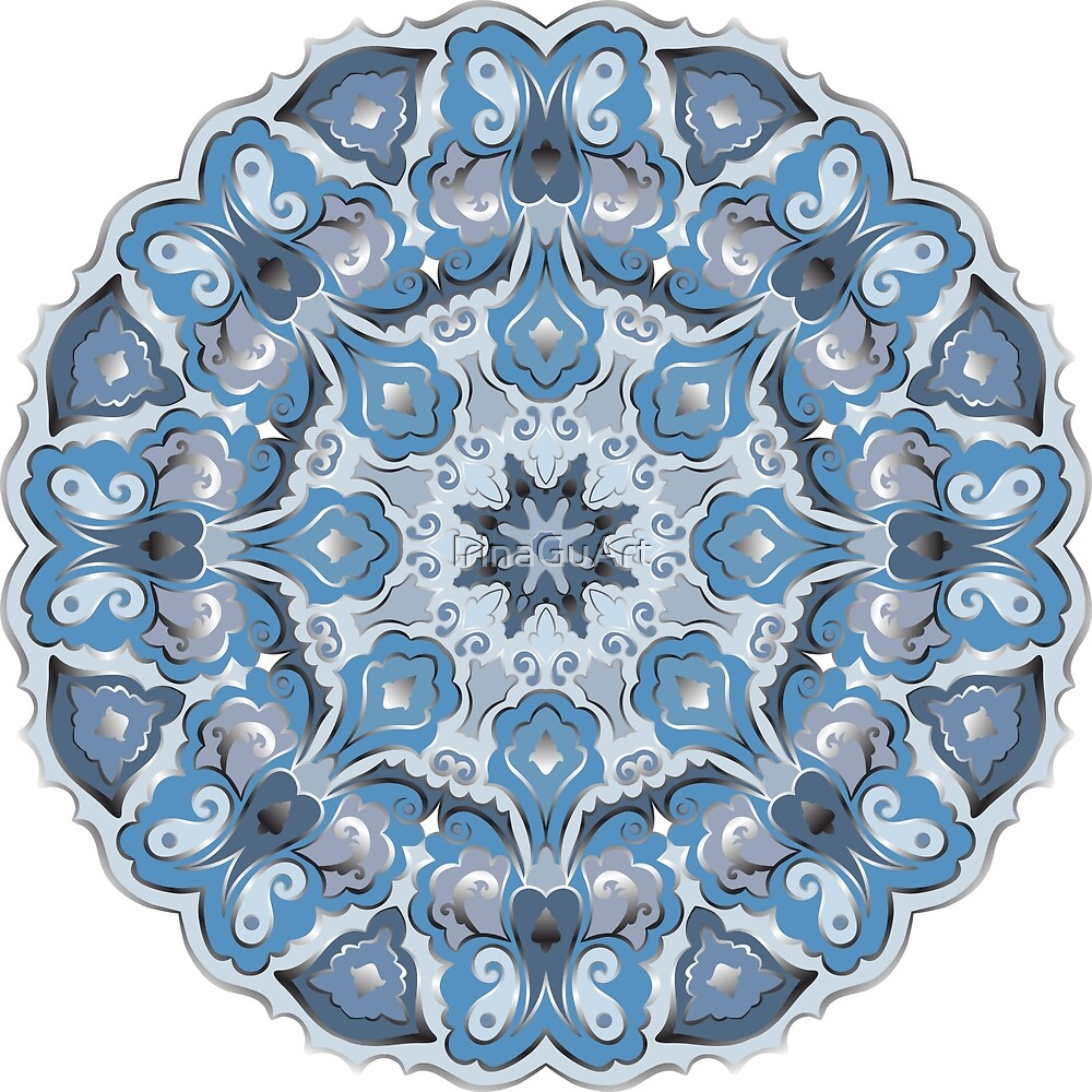 Blue and silver round pattern by IrinaGuArt