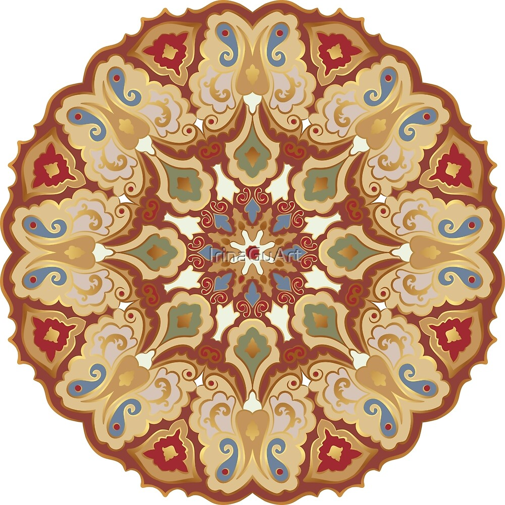 Colored and golden round pattern by IrinaGuArt