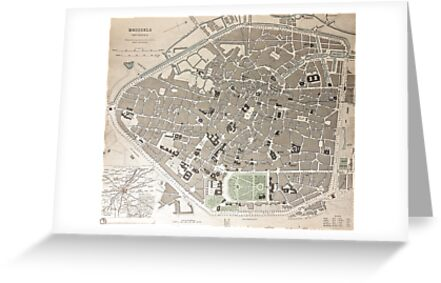 19th Century Topographical Vintage Antique Map Brussels, Belgium by Photo Print Vintage
