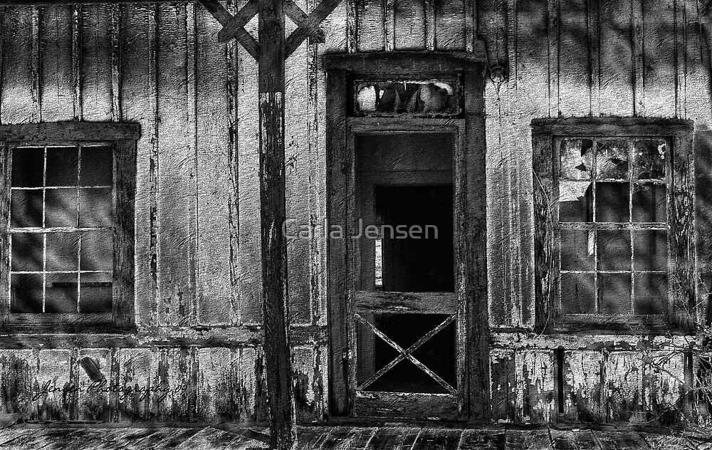 This ole House  ( Black and White ) by Carla Jensen