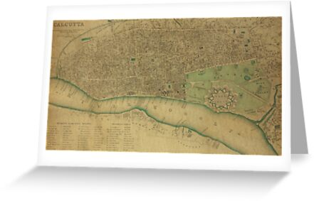 19th Century Topographical Vintage Antique Map Calcutta, India by Photo Print Vintage