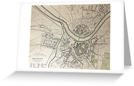 19th Century Topographical Vintage Antique Map Dresden Germany Steampunk by Photo Print Vintage